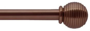 Bradley 19mm Steel Curtain Pole, Bronzed, Ribbed Ball & Collar