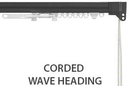Silent Gliss 3840 Corded Curtain Track, 80mm Wave, Charcoal