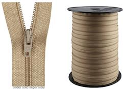 Hallis 4mm Continuous Zipping, Beige