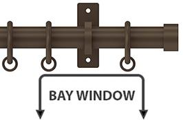 Arc 25mm Metal Bay Window Curtain Pole, Mocha, Stud