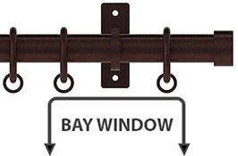 Arc 25mm Metal Bay Window Curtain Pole, Bronze, Stud