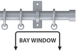 Arc 25mm Metal Bay Window Curtain Pole, Soft Silver, Stud