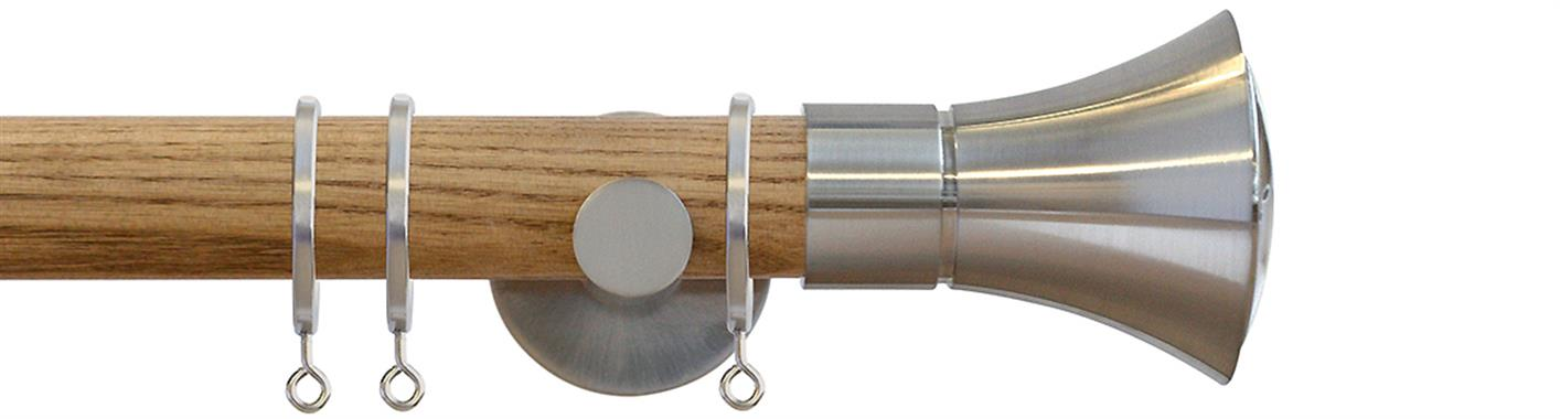 Jones Strand 35mm Wood Curtain Pole in a Light Oak finish with Matt Nickel Cone finials, brackets and rings
