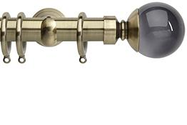 Neo Premium 28mm Curtain Pole Spun Brass Cup Smoke Grey Ball