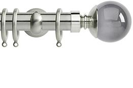 Neo Premium 28mm Curtain Pole Chrome Cup Smoke Grey Ball