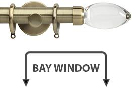 Neo Premium 28mm Bay Window Curtain Pole Spun Brass Clear Teardrop