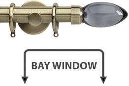Neo Premium 28mm Bay Window Curtain Pole Spun Brass Smoked Grey Teardrop