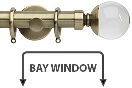 Neo Premium 28mm Bay Window Curtain Pole Spun Brass Clear Ball