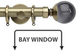 Neo Premium 28mm Bay Window Curtain Pole Spun Brass Smoke Grey Ball