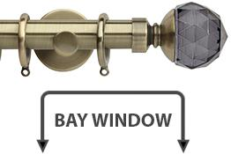 Neo Premium 28mm Bay Window Pole Spun Brass Smoke Grey Faceted Ball