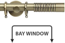 Neo Premium 28mm Bay Window Pole Spun Brass Wired Barrel