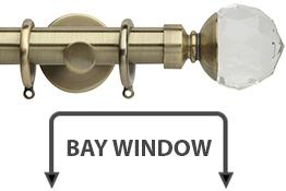 Neo Premium 28mm Bay Window Pole Spun Brass Clear Faceted Ball