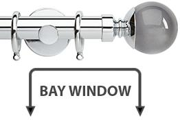 Neo Premium 28mm Bay Window Pole Chrome Smoke Grey Ball