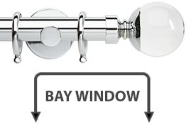 Neo Premium 28mm Bay Window Curtain Pole Chrome Clear Ball
