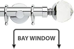 Neo Premium 28mm Bay Window Pole Chrome Clear Faceted Ball