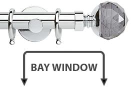 Neo Premium 28mm Bay Window Pole Chrome Smoke Grey Faceted Ball