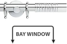 Neo Premium 28mm Bay Window Curtain Pole Chrome Wired Barrel