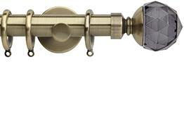 Neo Premium 28mm Curtain Pole Spun Brass Cylinder Smoke Grey Faceted Ball