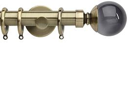 Neo Premium 28mm Curtain Pole Spun Brass Cylinder Smoke Grey Ball