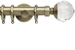 Neo Premium 28mm Curtain Pole Spun Brass Cylinder Clear Faceted Ball