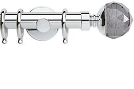 Neo Premium 28mm Curtain Pole Chrome Cylinder Smoke Grey Faceted Ball