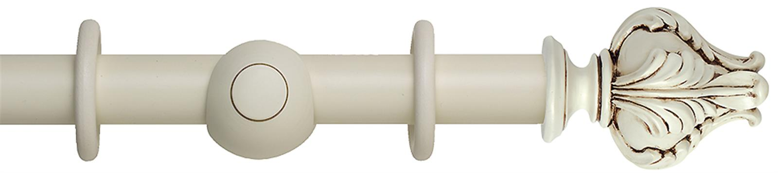 Museum 35mm and 45mm wood curtain pole in an Antique White finish with Vienna finials