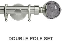 Neo Premium 19mm/28mm Double Pole Stainless Steel Smoke Grey Faceted Ball