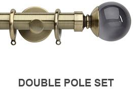 Neo Premium 19mm/28mm Double Curtain Pole Spun Brass Smoke Grey Ball