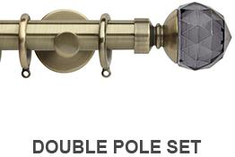 Neo Premium 19mm/28mm Double Curtain Pole Spun Brass Grey Faceted Ball