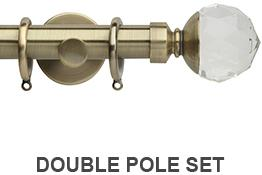 Neo Premium 19mm/28mm Double Curtain Pole Spun Brass Clear Faceted Ball