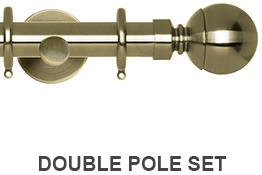 Neo 19/28mm Double Curtain Pole Spun Brass Ball