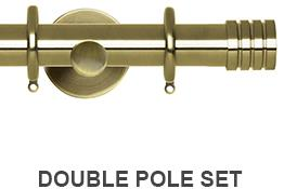 Neo 19/28mm Double Curtain Pole Spun Brass Stud