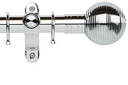 Galleria Metals 35mm Curtain Pole, Chrome, Ribbed Ball