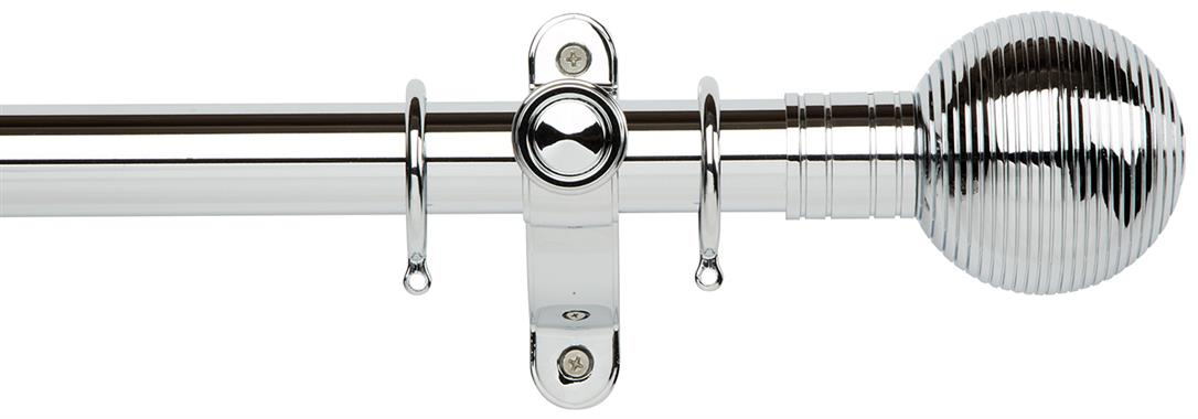 Galleria Metals 35mm Curtain Pole in a Chrome finish with Ribbed Ball finials