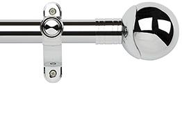 Galleria Metals 35mm Eyelet Curtain Pole, Chrome, Orb