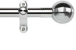Galleria Metals 35mm Eyelet Curtain Pole, Chrome, Ribbed Ball