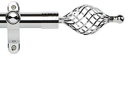 Galleria Metals 35mm Eyelet Curtain Pole, Chrome, Twisted Cage