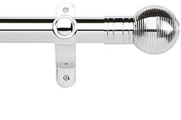 Galleria Metals 50mm Eyelet Curtain Pole, Chrome, Ribbed Ball