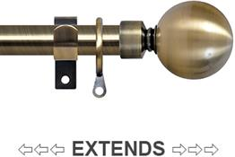 Renaissance 19/16mm Extensis Extendable Curtain Pole Antique Brass, Ball