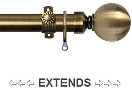 Renaissance 28/25mm Extensis Extendable Curtain Pole Antique Brass, Ball