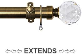 Renaissance 28/25mm Extensis Extendable Curtain Pole Ant Brass,Crystal Cut Diamond