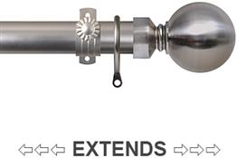 Renaissance 28/25mm Extensis Extendable Curtain Pole Brushed Nickel, Ball