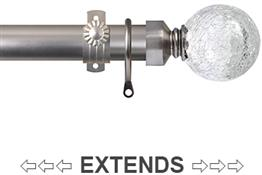 Renaissance 28/25mm Extensis Extendable Curtain Pole Brush Nickel,Crackled Glass Ball