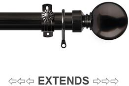 Renaissance 28/25mm Extensis Extendable Curtain Pole Black Nickel, Ball