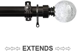 Renaissance 28/25mm Extensis Extendable Curtain Pole Black Nickel,Crackled Glass Ball