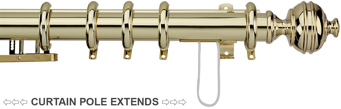 Integra Royal Orb Curtain Pole 38mm in a Polished Brass effect finish with Royal Orb finials, a pre-corded telescopic pole