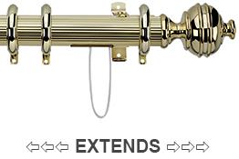 Integra Royal Orb Corded Reeded 38mm Curtain Pole Polished Brass