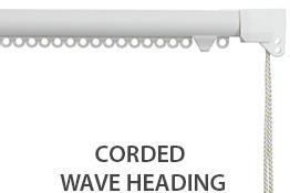 Silent Gliss 3840 Corded Curtain Track, 80mm Wave, White