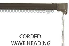 Silent Gliss 3840 Corded Curtain Track, 80mm Wave, Antique Bronze