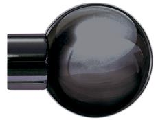 Jones Strand 35mm Curtain Pole Finial Only, Metal Ball, Black Nickel